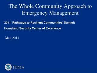 The Whole Community Approach to Emergency Management