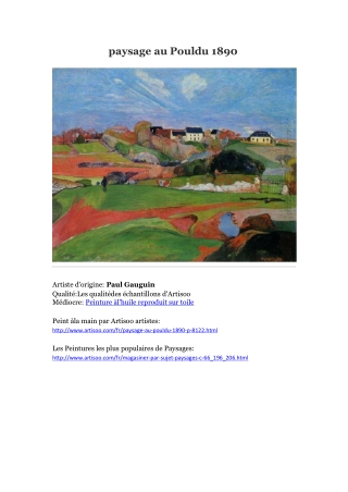 paysage au Pouldu 1890 -- Artisoo