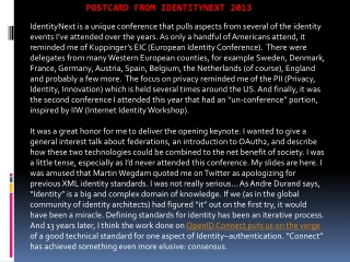Postcard from IdentityNext 2013