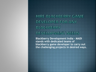 Hire Developer India for Blackberry Game Development