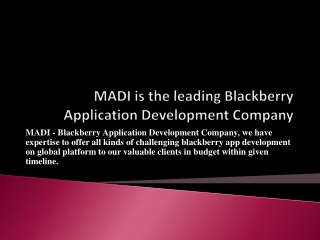 Deal with our Blackberry Playbook Application Development