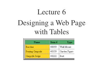 Lecture 6 Designing a Web Page with Tables