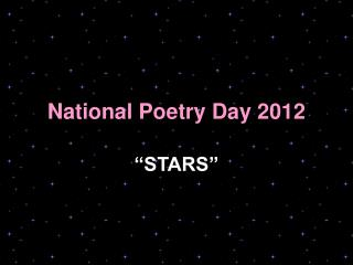 National Poetry Day 2012