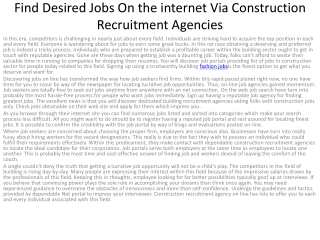 Find Desired Jobs On the internet Via Construction