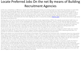 Locate Preferred Jobs On the net By means