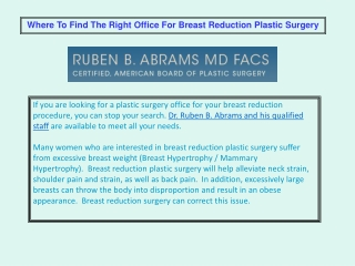 Breast Reduction Plastic Surgery