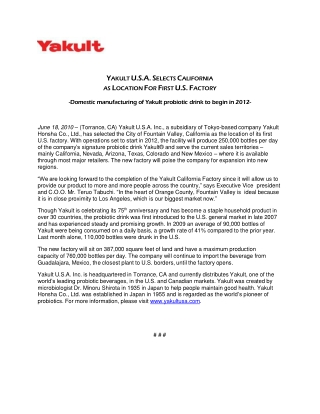 Yakult Selects US Factory
