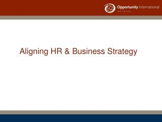 Aligning HR  Business Strategy