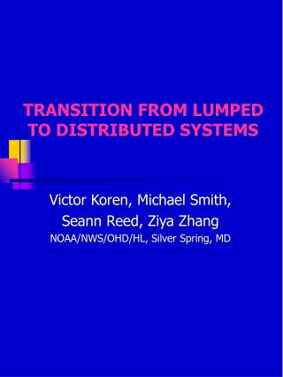 TRANSITION FROM LUMPED TO DISTRIBUTED SYSTEMS