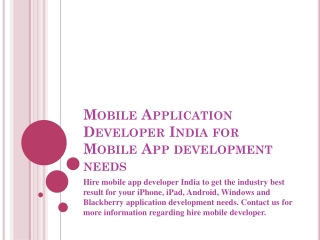 Hire Mobile Application Developer for mobile app development