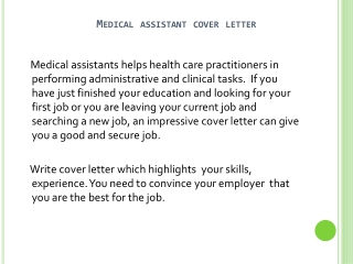 How To Write A Cover Letter For Medical Assistant