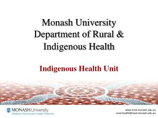 monash university department of rural  indigenous health
