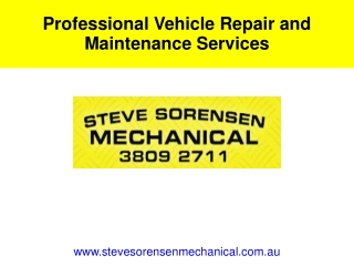 Professional Vehicle Repair and Maintenance Services