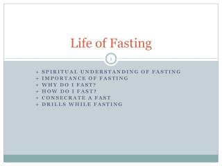 Life of Fasting