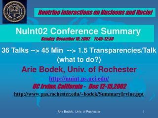 36 Talks -- 45 Min  -- 1.5 Transparencies