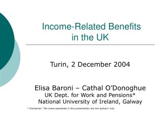 Income-Related Benefits  in the UK