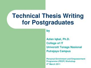 Technical Thesis Writing for Postgraduates