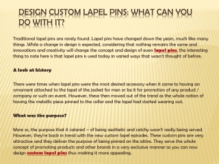 Design custom lapel pins: What can you do with it?