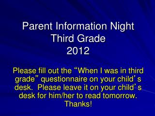Parent Information Night Third Grade 2012