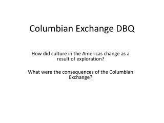 Columbian Exchange DBQ
