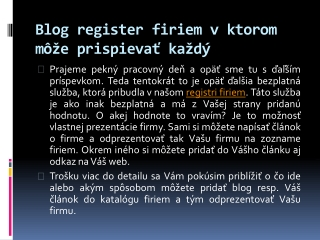 Blog register firiem v ktorom môže prispievať každý