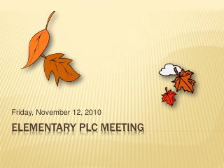 Elementary PLC Meeting