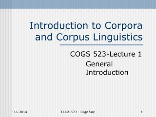 Introduction to Corpora and Corpus Linguistics