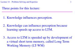 Three points for this lecture: