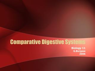 Comparative Digestive Systems
