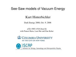 See-Saw models of Vacuum Energy