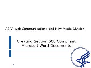Creating Section 508 Compliant Microsoft Word Documents