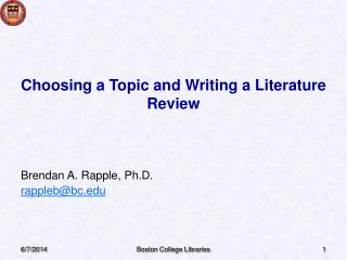 Choosing a Topic and Writing a Literature Review
