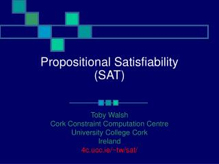 Propositional Satisfiability SAT