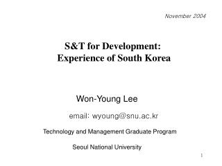 ST for Development:   Experience of South Korea