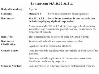 MA.912.A.3.1: Solve linear equations in one variable that include simplifying algebraic expressions.