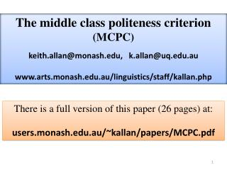 The middle class politeness criterion  MCPC  keith.allanmonash,   k.allanuq.au  arts.monash.au