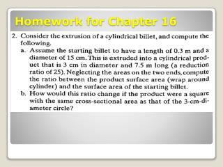 Homework for Chapter 16