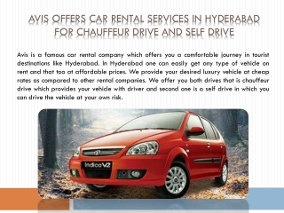 Avis Offers Car Rental Services in Hyderabad