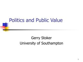 Politics and public value