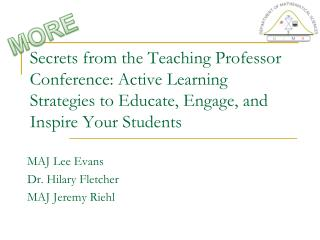 Secrets from the Teaching Professor Conference: Active Learning Strategies to Educate, Engage, and Inspire Your Students