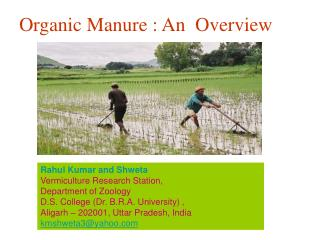 Rahul Kumar and Shweta Vermiculture Research Station,  Department of Zoology D.S. College Dr. B.R.A. University , Aligar
