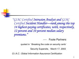 GIAC Certified Intrusion Analyst and GIAC Certified Incident Handler rank among the top 14 highest-paying certificates