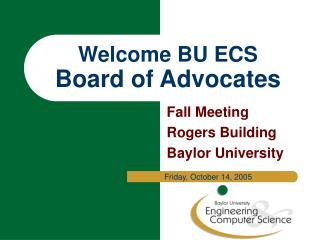 Welcome BU ECS Board of Advocates
