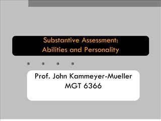 substantive assessment: abilities and personality