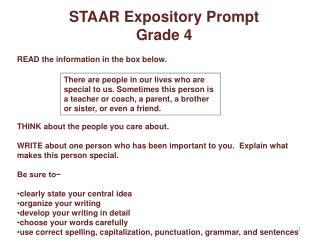 STAAR Expository Prompt  Grade 4