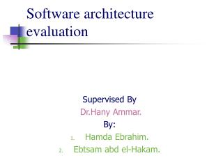 Software architecture evaluation