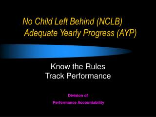 No Child Left Behind NCLB  Adequate Yearly Progress AYP