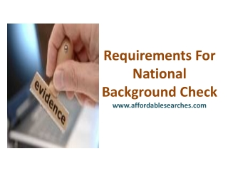 Requirements For National Background Check
