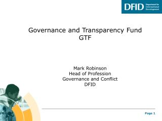 Governance and Transparency Fund GTF