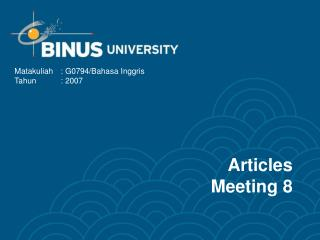 Articles Meeting 8